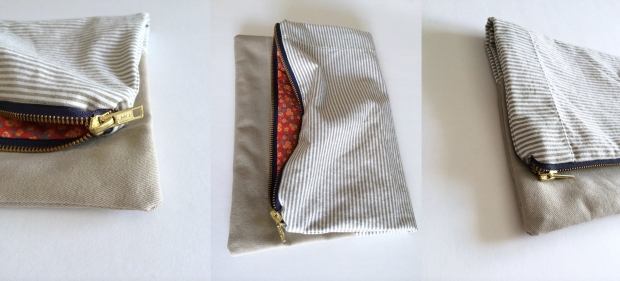 Handmade upcycled zippered clutch